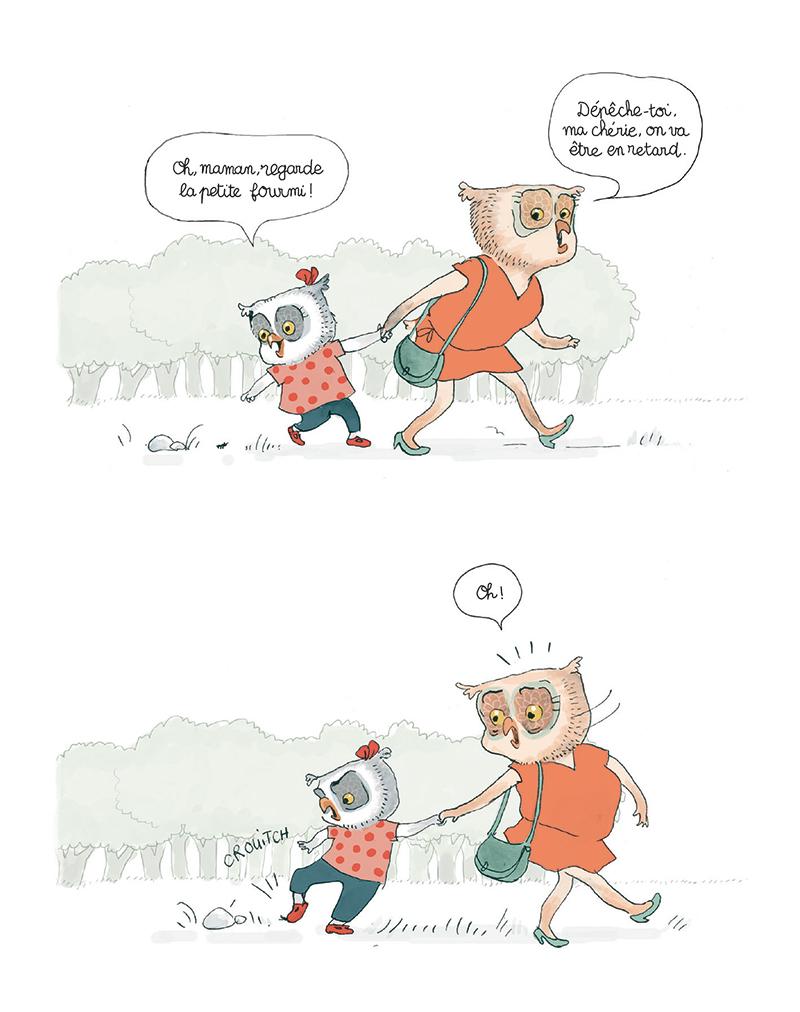 Extrait n°2 de la bd Rien n'arrête Bidule Chouette ! par Gwendoline Raisson