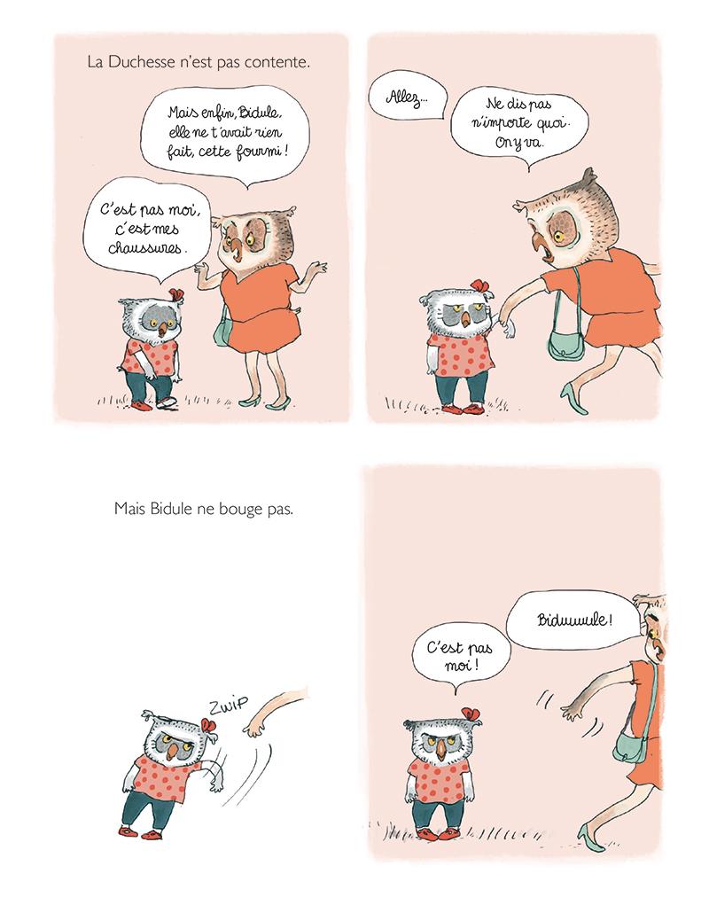 Extrait n°3 de la bd Rien n'arrête Bidule Chouette ! par Gwendoline Raisson