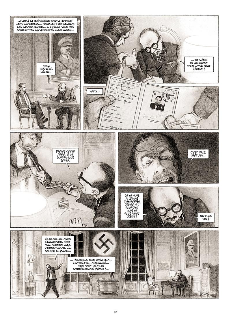 Extrait n°14 de la bd La cavale du Dr Destouches par Christophe Malavoy